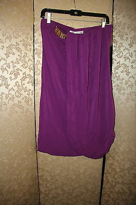 Trina Turk NWT Purple Gold Hardware Draped Greek Strapless Dress 6](Gold Greek Dress)