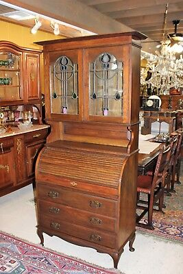 Antique English Oak Wood Secretary Tall Stained Glass Roll Top Desk / - Oak Roll Top Secretary Desk
