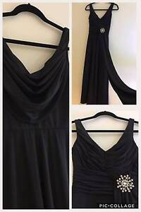 BLACK LONG FORMAL GOWN COCKTAIL PROM BALL MAXI EVENING DRESS Sz6 South Melbourne Port Phillip Preview