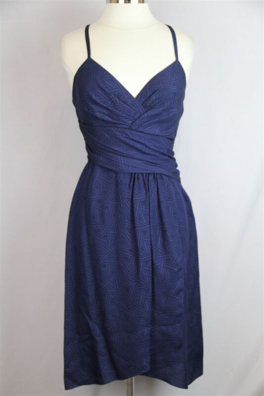 "Diane von Furstenberg Women's Navy ""DVF Saige"" Strap Shoulder Silk Dress Sz 6"