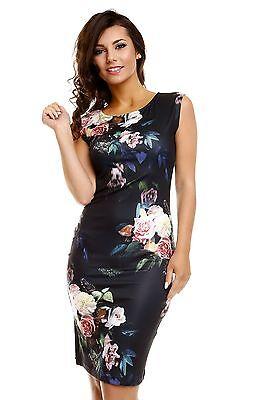 Kleid knielang Stretchkleid schwarz S/M M/L Blumen naturweiß  Rosen Sommerkleid Rosen-sommer-kleid