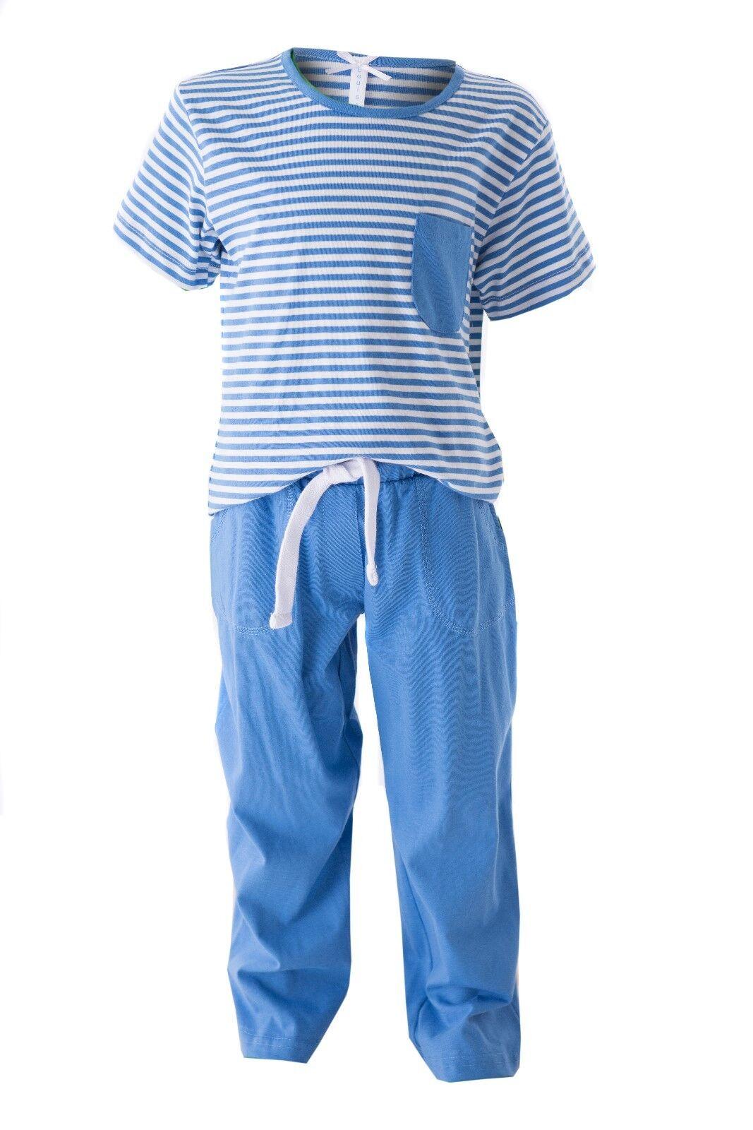 "LOUIS & LOUISA "" Auf Traumreise "" Pyjama blau gestreift Gr. 92 - 164 NEU"