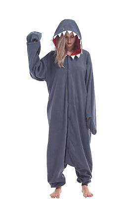 Shark Onesie Adult (Shark Adult Animal Cosplay Costumes Pajamas Halloween Kigurumi Onesie0)