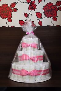 Pink Ribbon Diaper Cake with Bows