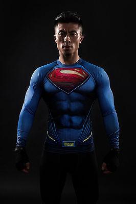 Batman VS Superman Herren Spandex Langarm T-Shirt Shirt Cosplay Kostüm Fitness (Batman Spandex Kostüme)