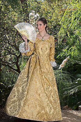 4 PIECE REVOLUTIONARY GOLD PIRATE SWANN COSTUME with CUFFS and HOOP SKIRT