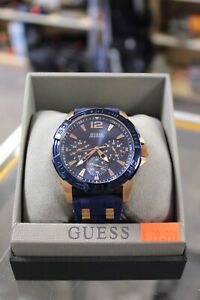 Blue And Rose Gold Guess 100m/330ft Watch (#4181)