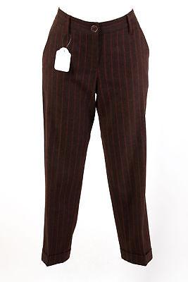 Wolle Gestreifte Slim Pant (ETRO MILANO Hose Gr. M / 38 Wolle-Kaschmir 7/8 Slim Wollhose Business Pants)