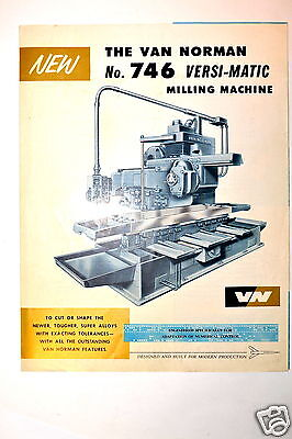 New The Van Norman No.746 Versi-matic Milling Machine 1959 Brochure Rr380