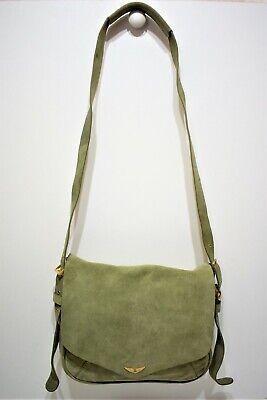 Zadig et voltaire, sac /  petite sacoche porté bandoulière, en nubuck vert