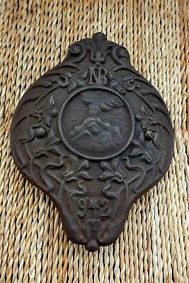 Antique Vintage Original Decorative Cast Iron Plaque Collector Unique