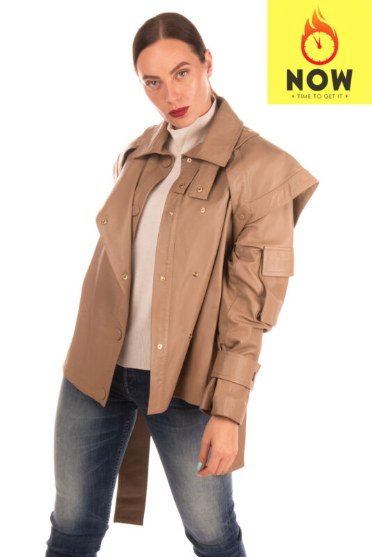 RRP €2355 ZIMMERMANN Lamb Leather Jacket Size 1 / S Silk Blend Lined Belted