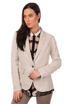 RRP €425 ARMANI JEANS Blazer Jacket Size 42 / M Linen Blend Textured Collared
