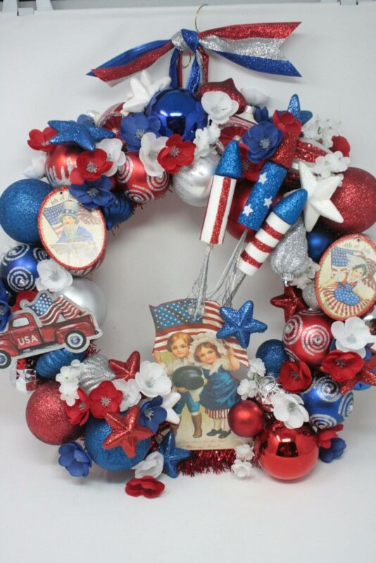 4th Of July Wreath Front Door Red White & Blue Vintage Style Ornament Patriotic