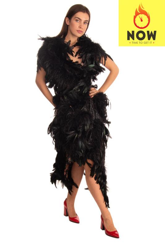 RRP €3890 ANDREAS KRONTHALER x VIVIENNE WESTWOOD Bustier Dress Size 12 L Feather