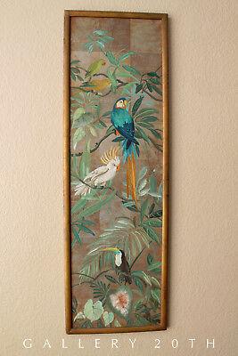 MAGNIFICENT! ART DECO EXOTIC BIRD PAINTING! PARROT ART EAMES VTG 1940S TIKI