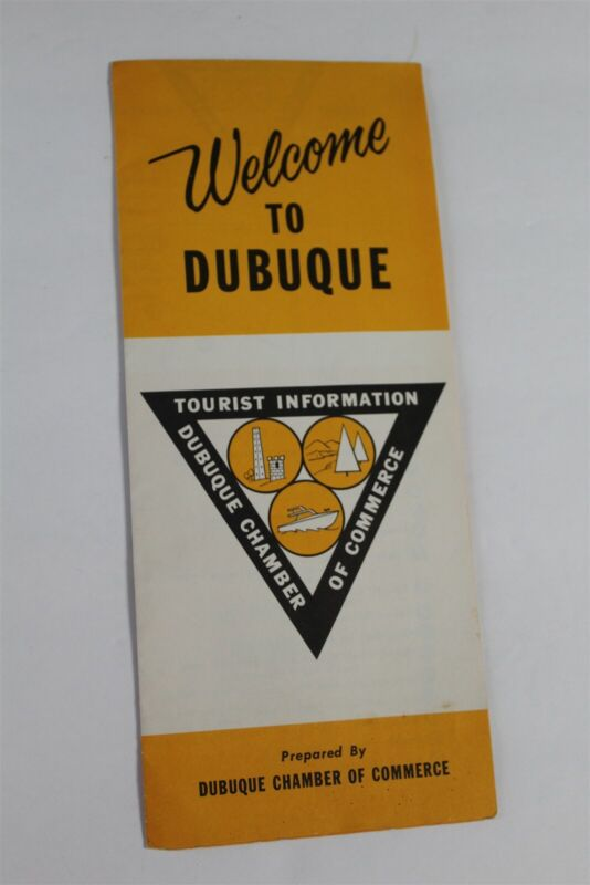 Vintage Dubuque Chamber Of Commerce Tourist Info Brochure Iowa Map Pictures Info