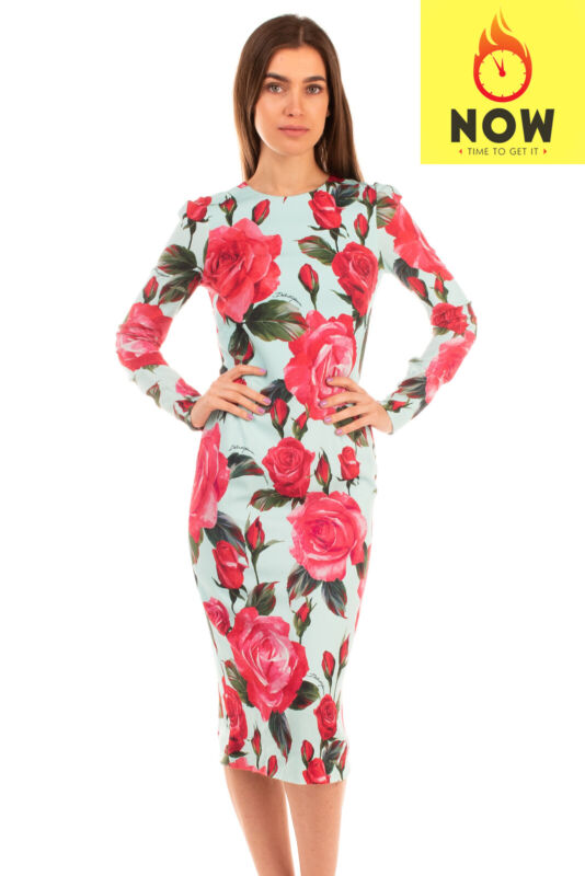 RRP €1830 DOLCE & GABBANA Midi Pencil Dress Size IT 40 / XS Rose Made in Italy