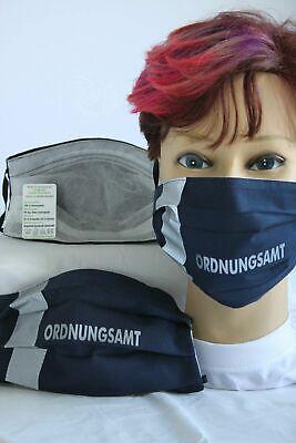 Textil Design Maske Behelfsmaske blau silber Wunschtext Name