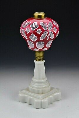 19th Century Boston Sandwich Glass Cranberry & White Double Cut Overlay Lamp #1