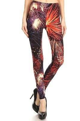 Fireworks Pattern - Women's Regular colorful Fireworks Pattern Printed Leggings - Red Purple