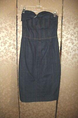 Betsey Johnson Blue Jean Denim Wiggle Sheath Keyhole Back Pinup Dress 6 Betsey Johnson Jeans