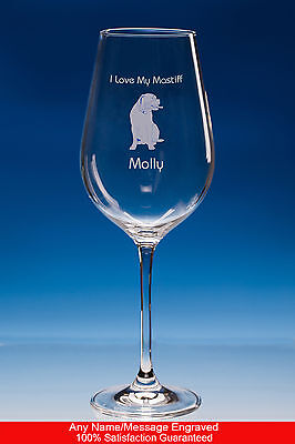 Mastiff Dog Gift Personalised Engraved Fine Quality Wine Glass