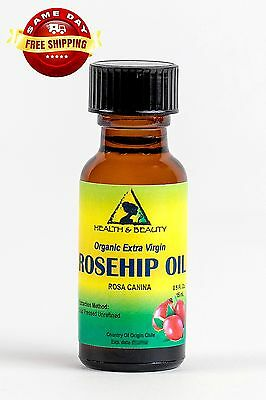 ROSEHIP SEED OIL UNREFINED ORGANIC VIRGIN COLD PRESSED PURE GLASS BOTTLE 0.5 OZ