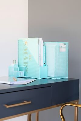 Blu Monaco Aqua 5 Piece Cute Desk Organizer Set