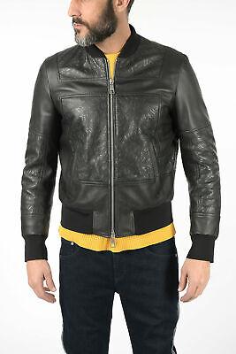 NEIL BARRETT men Jackets Sz M Black Leather Bomber Full Zip Slim Fit Black M ...