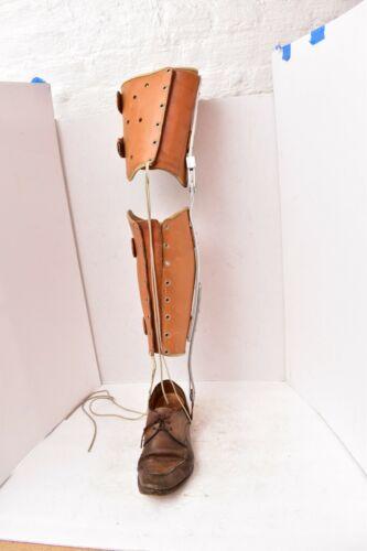 Antique Vintage Polio Leg Brace Leather & Metal Medical Steampunk W Shoe mens