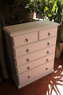 Fresh sanded&painted white tallboy chest of drawers solid built Parramatta Parramatta Area Preview