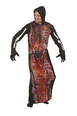 Skelett auf Feuer ( Robe mit Kapuze), Damen, Halloween, (Auf Feuer Kostüm)