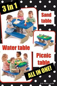 Water table, sand table and picnic table