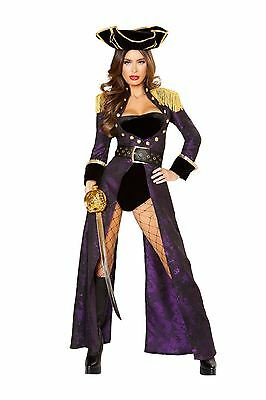 Roma Deluxe Pirate Queen Bodysuit w/ Long Coat 4pc Purple & Black Costume (Black Pirate Coat Kostüm)