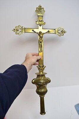 """+ Antique French Processional Cross Top (CU207) Church Crucifix 31""""x15 1/4"""""""