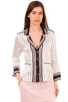 RRP €140 KATE MOSS X EQUIPMENT Silk Pyjama Top Size XS Striped Collared