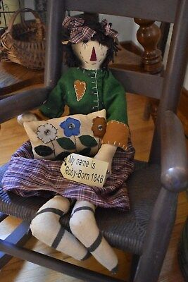 """NEW PRIMITIVE COUNTRY RUBY FABRIC DOLL WITH FLOWER PILLOW HOME DECOR 23"""" LONG"""