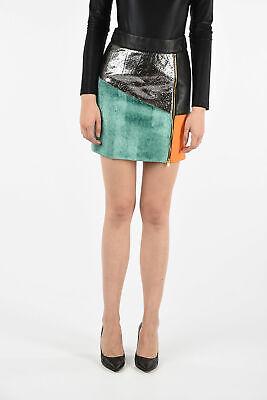 FAUSTO PUGLISI women  Sz 40 IT Multicolor Leather Fabric Mini Skirt A-Line  4...