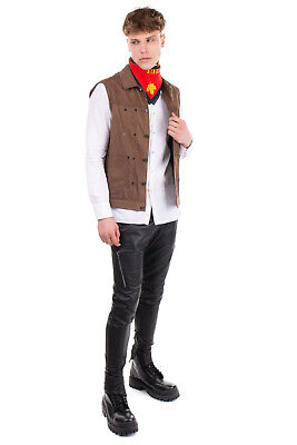 RRP €1060 GIORGIO BRATO Suede Leather Gilet Size 48 / M Brown Worn Look
