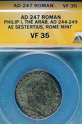 AD247 ANACS VF35 Roman Philip 1, The Arab, Rome Mint,AE Sestertius!! #B7117