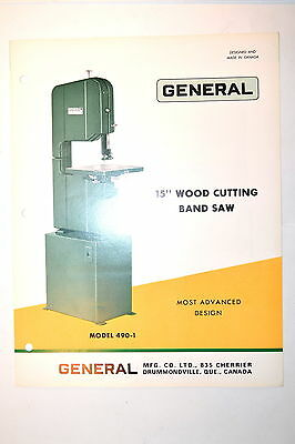 General 490 15 Wood Cutting Band Saw Brochure 1971 Rr636 Feature Specifications