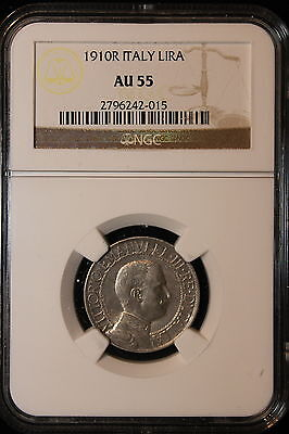 Click now to see the BUY IT NOW Price! 1910 R ITALY. LIRA. NGC GRADED AU 55.