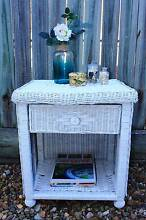 Pure White Vintage Wicker Bedside Table Runcorn Brisbane South West Preview