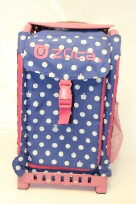 Zuca USED Blue/White Polka Bots Pink Frame Rolling Sport Ice Skating Student Bag