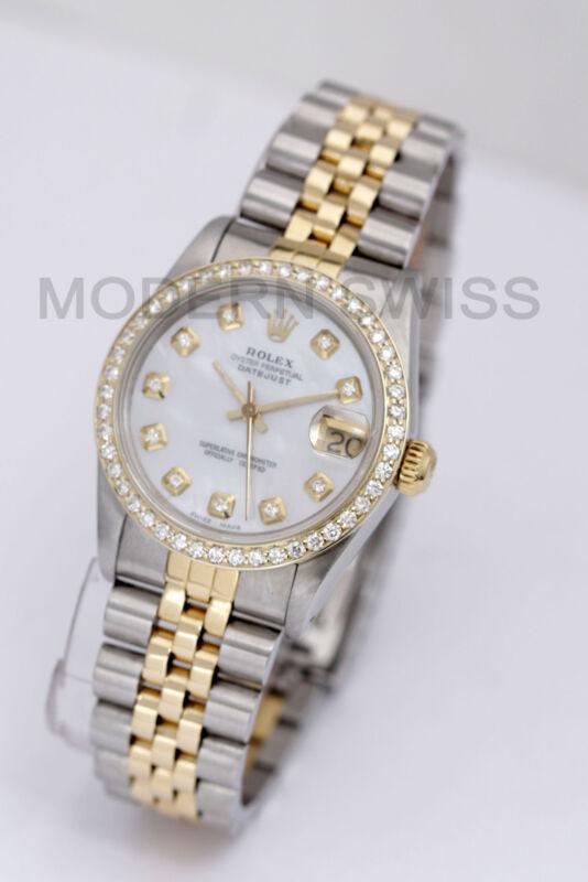 Rolex Ladies Midsize Datejust 18k Gold & Steel Mop Diamond Dial & Bezel Jubilee