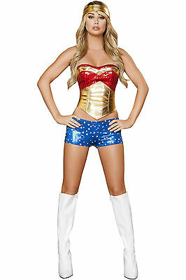 Sexy Superhero Wonder Woman Heroine Cosplay Halloween Costume Adult Women Large