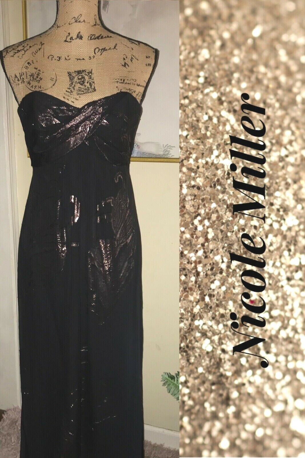 NICOLE MILLER COLLECTION LONG BLACK SILK GOWN~GOLD METALLIC PRINT~STRAPLESS-0