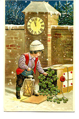 Greetings Postcards Package - Little Boy-Lamp-Clover Package-Happy New Year Holiday Greeting Vintage Postcard