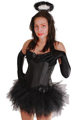 sexy schwarzer Engel Kostüm Karneval Fasching Halloween Wäschebeutel